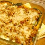 豆腐とカボチャのミートソースグラタン