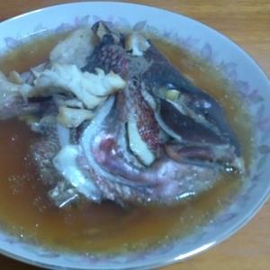 圧力鍋で作る鯛のかぶと煮