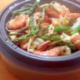 海老と野菜の蒸し焼き
