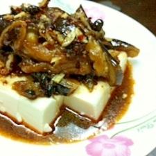 豆腐の黒酢にんにく茄子がけ