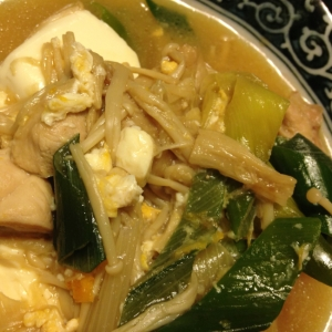 鶏肉とネギと豆腐の旨煮