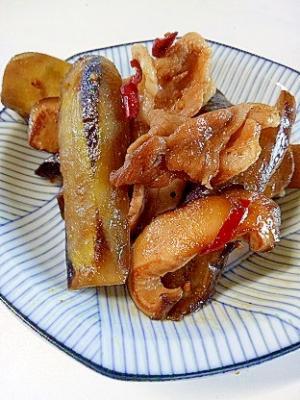 椎茸と茄子の豚小間ピリ辛炒め