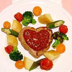 ♥ハートハンバーグ♥焼き野菜添え