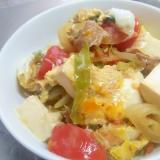 トマト豆腐の簡単卵とじ&丼
