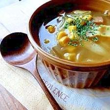 新玉ねぎとベーコンのカレー風味スープ