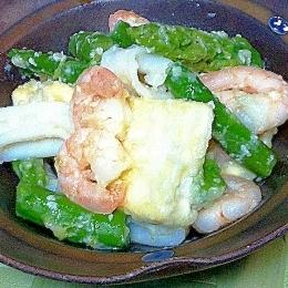 魚介と豆腐の塩こうじ炒め