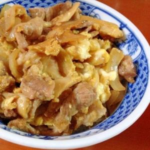 ランチに(^^♪豚肉とエリンギの卵とじ丼