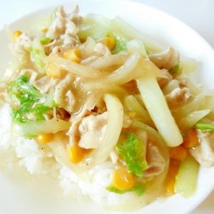 豚白菜玉ねぎの簡単に中華丼