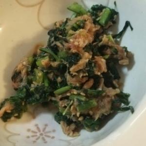 節約レシピかぶの葉とツナの炒め物