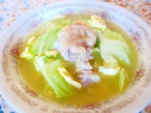 手羽元とキャベツの卵スープ