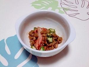 キムチ入り!オクラ納豆++