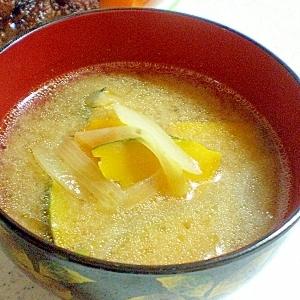 かぼちゃと玉ねぎの味噌汁 中華風♪
