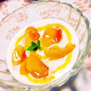 柿とマンゴソースヨーグルト