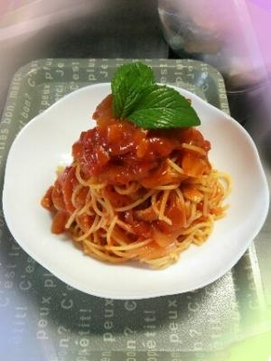 ミントとトマトの冷製パスタ