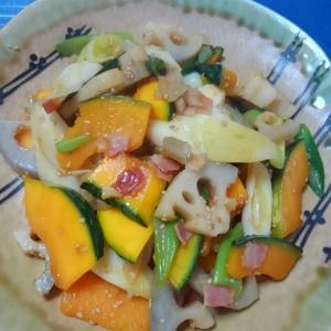 カボチャとレンコンの甘辛炒め お惣菜屋さん風