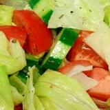 トマトと胡瓜、レタスのバジル風味サラダ
