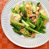 簡単!茹で塩鮭と豆腐小松菜のごま炒め