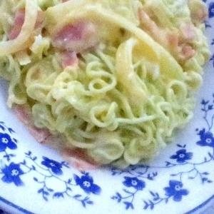 *青汁麺のカルボナーラ風*