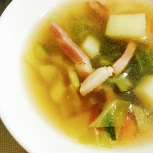 懐かしい給食の味?キャベツとベーコンの簡単スープ