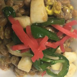 紅生姜、ピーマン 、エリンギのカラフル納豆