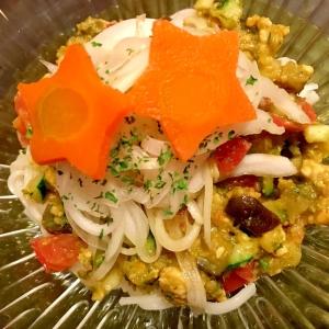 夏野菜たっぷりの冷た~い鶏ささみキーマカレー麺