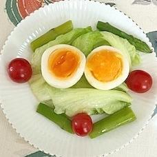 レタス 、アスパラ、ゆで卵、ミニトマトのサラダ
