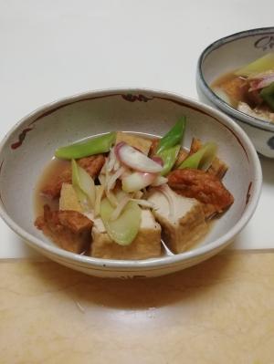 厚揚げと野菜天と長ねぎの煮物