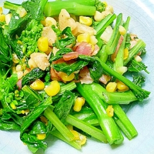 アスパラ菜とコーンの炒め物