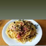高菜の辛さがよく合う!高菜ベーコンスパゲッティ