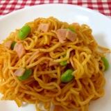 焼きそばの麺で!ハムと枝豆のスパゲティ☆