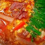 牛かたまり肉で★カルビクッパ風スープ♪