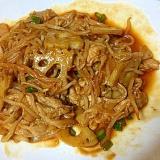 豚肉とレンコンともやしのケチャップ炒め