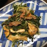 水菜と豚肉の炒め物☆