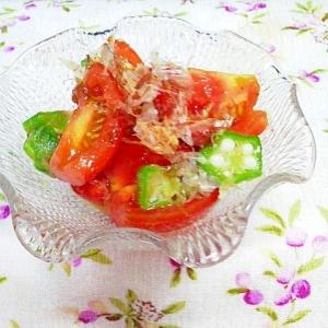 簡単ノンオイル♪トマト&オクラの和風サラダ