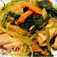 小松菜と豚肉の春雨炒め