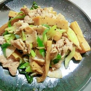豚肉とメンマと長葱の炒め物