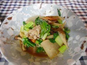 豚肉、大根、小松菜の五目味噌炒め煮