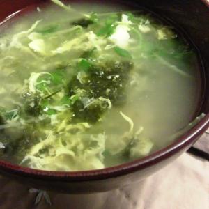 豆苗と海苔の卵入り味噌汁