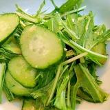 ❤水菜と胡瓜の甘黒酢わさび和え❤