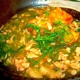 揚げ豆腐の鶏挽肉とえのき大葉のあんかけ