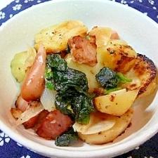フライパンで、ベーコンとジャガイモの蒸し焼き