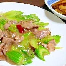 ラム肉とセロリの炒め物