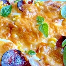HBで簡単!卵とサラミのピザ★魚焼きグリルで焼くよ