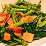 中華★空心菜とベーコンの炒め物