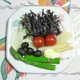 紫のからし菜とアスパラのサラダ~♥