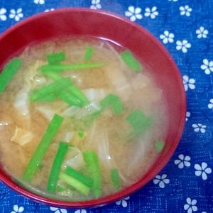 白菜と玉ねぎとニラの味噌汁