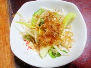 チンゲン菜とモヤシの酒蒸し【生姜風味でポン酢!】