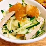 簡単副菜☆鶏とズッキーニの辛子味噌和え