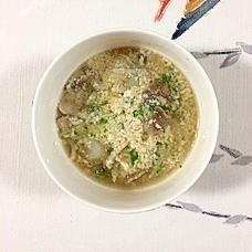 ヤーコン、水菜、舞茸の豆乳スープ