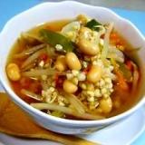 食べ過ぎが続いたら蕎麦の実入り具だくさん反省スープ